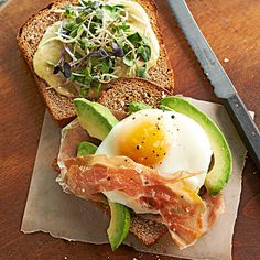 Prosciutto and avocado take center stage in this deliciously healthy breakfast sandwich: http://www.bhg.com/recipes/breakfast/high-protein-breakfasts/?socsrc=bhgpin081814avocadoeggsandwiches&page=11