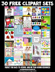 A selection of 30 FREE clipart sets for back-to-school or year-round use