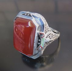 !!!  14K Art Deco Enameled Carnelian Ring