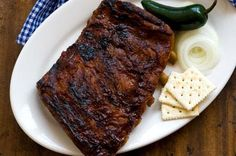 Ribs with Sam Houston's barbecue sauce   - Really good oven ribs!  (made 7-4-12)