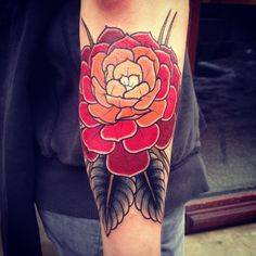 tattoo ideas, ombre, arm tattoos, color tattoos, color schemes, red flowers, rose tattoos, tattoo patterns, flower tattoos