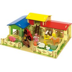 """""""Old McDonald had a farm"""" - and this is it! This lovely wooden Meadow Farm has its own Mr & Mrs McDonald, sheep, pig, horse, cow, duck, hen, tractor and wheelbarrow. Learn about life on a farm and how to look after the animals with this great toy. Some assembly required. Only £59.99."""