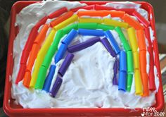 How much fun would this be! Make a sensory rainbow with straws