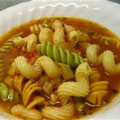 "Pasta Fagioli   ""A traditional Italian soup. Serve with a crisp salad and a hot loaf of garlic bread and you have a meal! Serve with grated Parmesan cheese on top."""