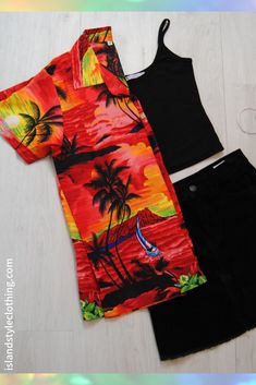 Ladies Hawaiian Shirt 'Red Sunset' colour blouse for luau, fancy dress, casual, pool party, music festival or group events. You can wear buttoned down, open over bikini or tie up in the front. Large range to match your entire group.  #ladieshawaiianshirt #unisexshirt #boyfriendshirt #luaushirt #schoolies #unishirt #springbreak #skatershirt #tropicalshirt #groupmatching #matchingcruisewear #matchymatchy #sunsetprint #hawaiianshirt