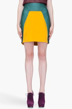 Turquoise Colorblock Skirt