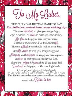 When using a Thirty-One Zipper Pouch or Utility Tote to create an emergency survival kit for the bride (or bride gift to bridesmaids!), print this cute sheet off and include with it!