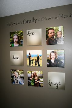 Love this display of family photos.  I like how they are frameless.