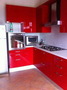 red italian kitchen
