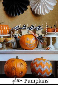 A fun alternative to carving pumpkins - glitter them! #Halloween