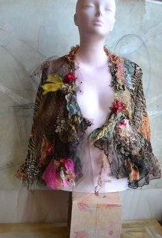 RESERVED For MARGIE Art To Wear Transparent Party Jacket/Bolero LEOPARD And Other Wild Cats Tribal Romantic Boho Hippie