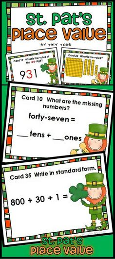 Would you like your students to have extra practice in place value? Then you'll love these St. Patrick's Day theme task cards! I love how task cards are just the right thing for independent practice in centers, small groups or playing scoot.  Students will convert to and from a number, convert from expanded form, regroup tens and ones, determine the value of an underlined digit, and tell the number shown in a place value model. $