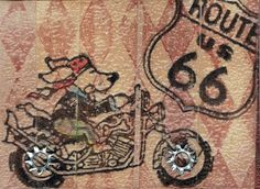 Faux wood background  VLVS! Stamp Harlequin Diamond Background  VLVS! Easy Dog Rider  VLVS! Route 66 Road Sign