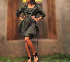 Mystical night dress... Dark green mix silk 4 sizes by cocoricooo, $49.00  L