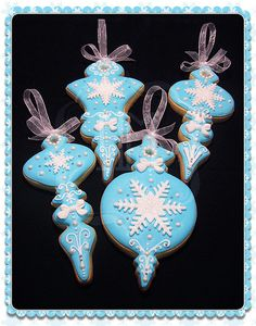 Blue Snowflake Christmas Ornament Cookies