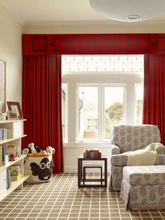 Love love this window treatment with squared banding detail at top of cornice / or valance, and banded around leading edge and bottom of drapery.  Childrens Space   Palmer Weiss Interior Design