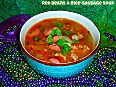 Red Beans & Rice-Sausage Soup featuring Zatarain's Red Beans and Rice Mix | from our friend, The Weekend Gourmet ricesausag soup, rice mix, grasfeatur zatarain, friends, the weekend, zatarain red, mardi gras, weekend gourmet, red bean