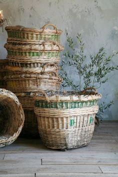 antique grape gathering baskets