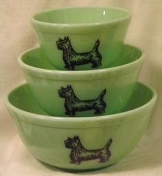 Jade Jadite Milk Green Glass Nesting Bowls w/ Scottie Scotty Dogs - Set of 3  new 66