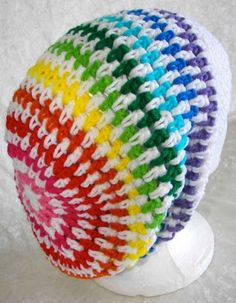 Rainbow and White Crochet Slouch Hat by SashmoCo