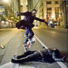 Love this pic! Batman Joker. Heath ledger, Christian Bale
