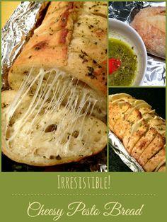 Irresistible Cheesy Pesto Bread #pesto #garlicbread