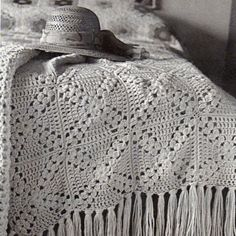 "This is beautiful! Inspiration :: vintage afghan.  Squares are very close to ""Pretty Petals"" motif.   #crochet #blanket #throw"