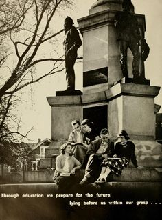 "Athena yearbook, 1950. ""Through education we prepare for the future, lying before us within our grasp..."" Young men and women relax on the Civil War Monument on Ohio University's College Green. :: Ohio University Archives"