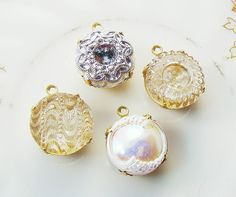 Vintage Ornate Pressed Glass Stones Silver by alyssabethsvintage