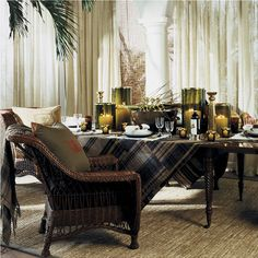 "Ralph Lauren Home Archives, ""Cape Lodge"", Dining Room, 2008; ""Inspired by an exotic estate with echoes of safari, a warm earth-toned palette weaves together colonial, campaign and Moderne furnishings in mahogany, rattan and tent canvas with vachetta leather, madras and brass."""