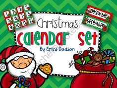 December Christmas-themed Calendar Set in Chevron from Erica Dodson on TeachersNotebook.com -  (12 pages)  - December Christmas-themed Calendar Set in Chevron