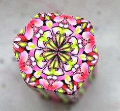 Hexagon Polymer Clay Cane pink red and green by LyamayevaClay