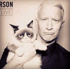 Anderson Cooper meets Grumpy Cat.
