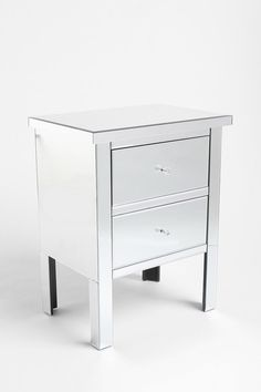 LOVE this silver/glass side table