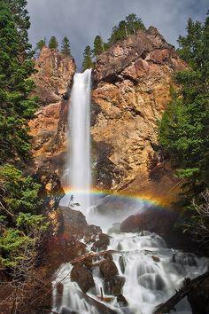 Mist Rainbow at Treasure Falls - Near Pagosa Springs, Colorado Stock id #1413
