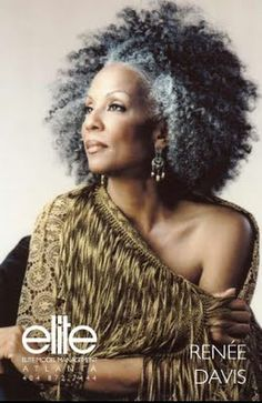 afro gray....I love how she has allowed her hair to be natural. Beautiful.....