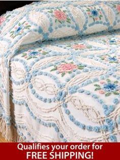 Vintage-Style Rose Chenille Bedspread, a Focal Point of Beauty, Comfort, and Quality     WANT THIS FOR MY BED SO BADLY!!!