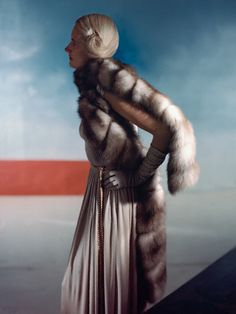 1946 by Horst P Horst    Model is wearing a stone marten evening stole from Maximilian.