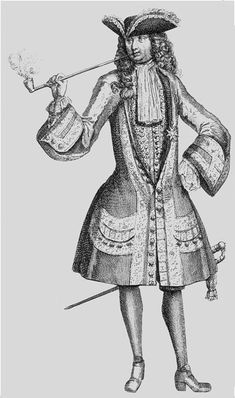 Jean Bart (1651-1702), 1690s. The famous French Corsair came from Dunkirk. Note the long and thin pipe, and the justaucorps only buttoned at the waist with three buttons.