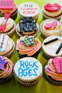 broadway cupcakes, birthday, age cupcak, rock of ages the movie, themed cupcakes