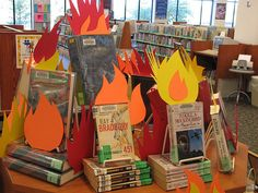 Banned books display at a library #bannedbooks #bannedbooksweek