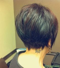 back view of a short haircut