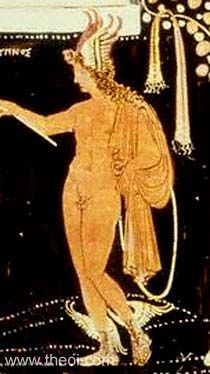 Greek Mythology: Hypnos was the god or spirit (daimon) of sleep. He resided in Erebos, the land of eternal darkness, beyond the gates of the rising sun. From there he rose into the sky each night in the train of his mother Nyx (Night). Hypnos was often paired with his twin brother Thanatos (Peaceful Death), and the Oneiroi (Dreams) were his brothers or sons.    Hypnos was depicted as a young man with wings on his shoulders or brow. His attributes included either a horn of sleep-inducing opium...
