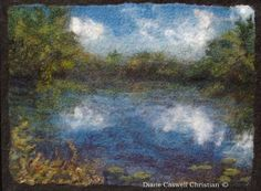 Wakefield Pond original felted landscape by FeltInspiration