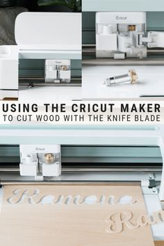This post shares the ultimate guide to using the Cricut Maker's Knife Blade to cut wood. #cricutmaker #cricutknifeblade
