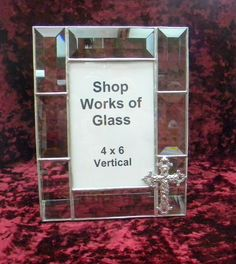 Clear+Bevel+Stained+Glass+Picture+Frame+with+by+shopworksofglass,+$45.00