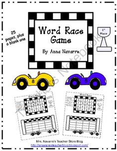 Word Race Game from Mrs. Navarres Shop on TeachersNotebook.com -  (28 pages)  - Word Race Game