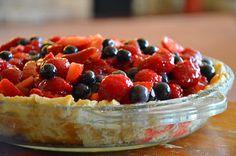Euphemia Haye Triple Berry Pie   Ingredients: pre-baked pie crust 2 cups sliced strawberries 2 cups blueberries 2 cups red raspberries 4 oz softened cream...