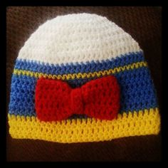 Donald Duck Inspired Crochet Beanie Hat with Bow (Sizes Newborn - Adult)