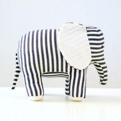 stripe elephant kid toy, elephants, modern kid, handstitch eleph, babi, beauti handstitch, stripe eleph, white furniture, kids toys